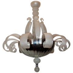 Mid-Century Modern Venetian Blown Glass Fixture Transitional Leaf Chandelier
