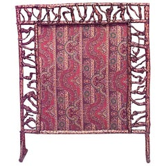 American Rustic Adirondack Style Twig Filigree Framed Fire Screen