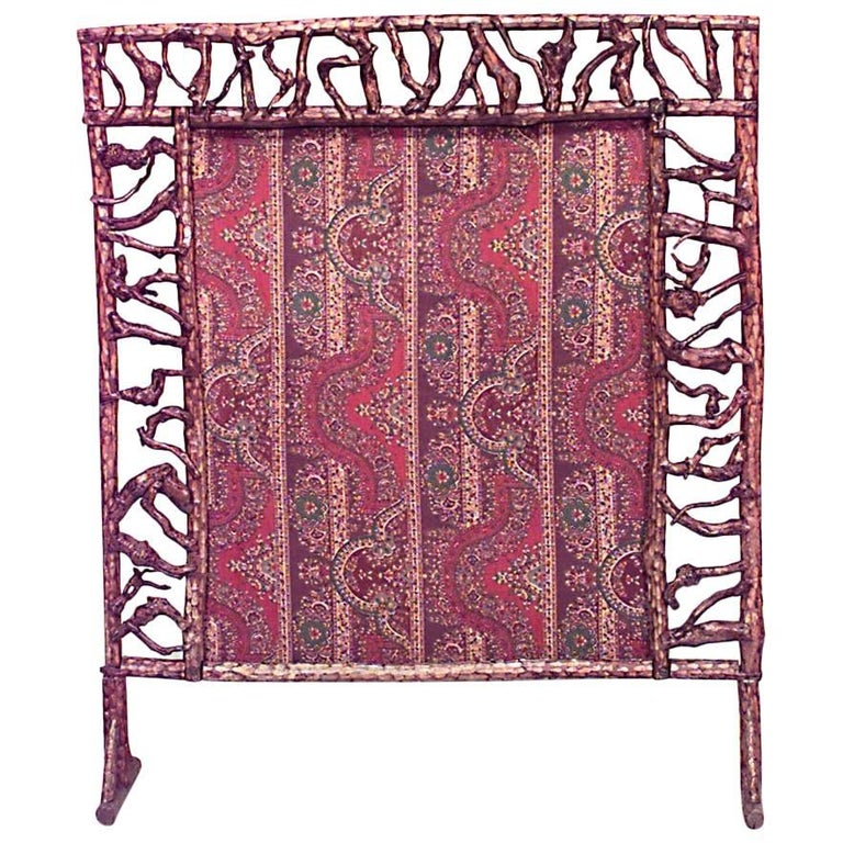 Ben Davis Rustic Andirondack Style Twig Fire Screen For Sale