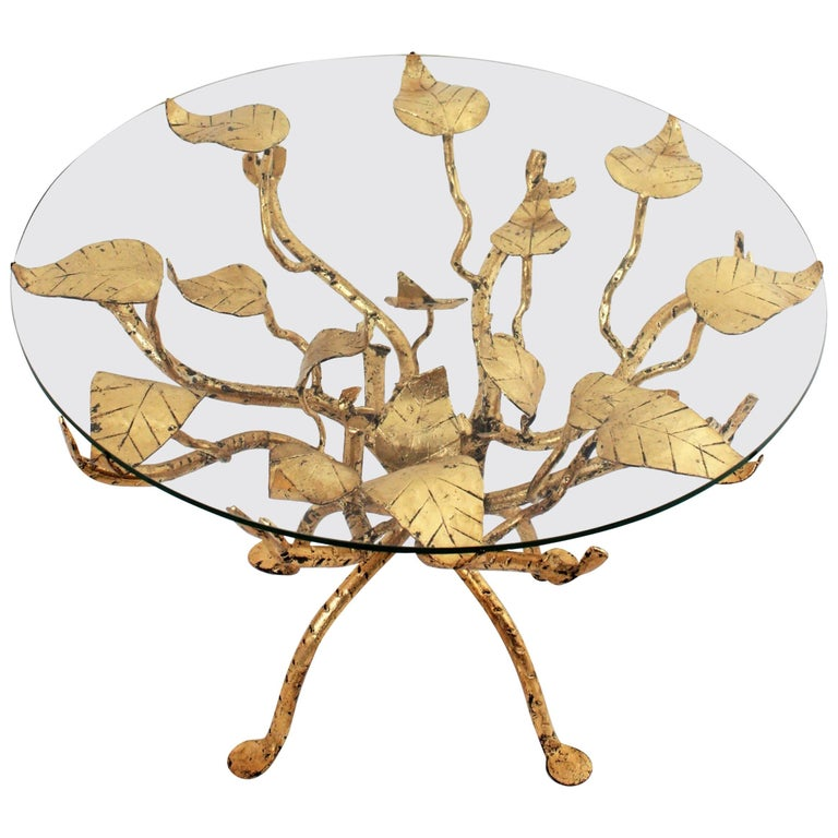 Hollywood Regency Hand-Hammered Gilt Iron Ornate Tree Coffee Table, France