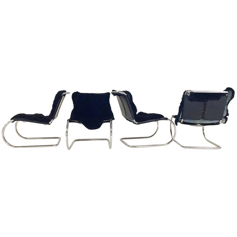 Mies Van Der Rohe for Knoll MR Chairs with Brazilian Sheepskins, Set of Four