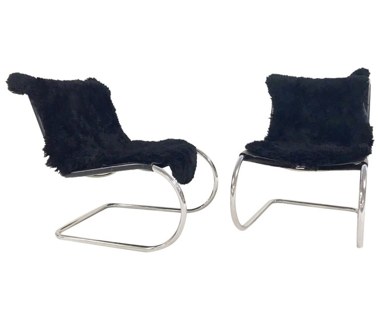 Mies van der Rohe for Knoll MR Chairs with Brazilian Sheepskins, Pair