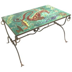 1940s French Wrought Iron Coffee Table