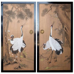 Pair of Meiji Period Paint Decorated Wood Japanese Interior Doors
