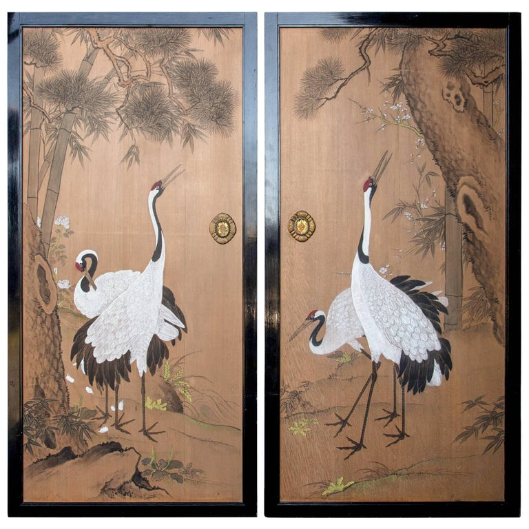 Pair of Meiji Period Paint Decorated Wood Japanese Interior Doors