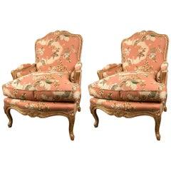 Pair of Custom Louis XV Style Bergeres