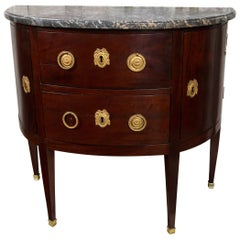 "18th Century Louis XVI ""D"" Shaped  Marble Topped Commode"