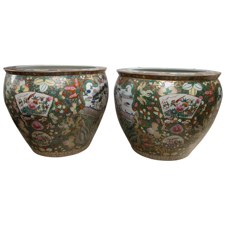 Pair of Chinese Porcelain Fish Bowls