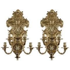 Pair of Bronze, Five-Light Scones