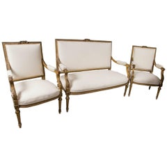 Quality Louis XVI Style Five-Piece Salon Set