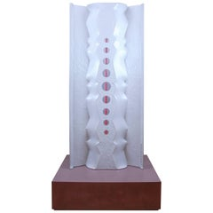 Large Contemporary Concrete Sculpture with Stainless Steel and Led Lighting