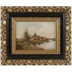 Leon Dupuy (Galien Laloue) Waterfront Village, Barbizon School, circa 1874-1884
