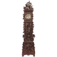 Rustic Black Forest 19th Century Carved Walnut Grandfather Clock