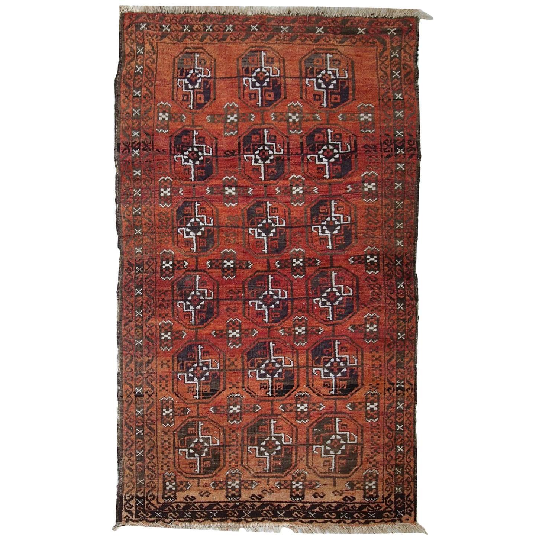 Handmade Antique Afghan Baluch Rug, 1900s, 1C381