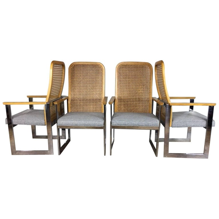 Milo Baughman Cane Back and Chrome Dining Chairs