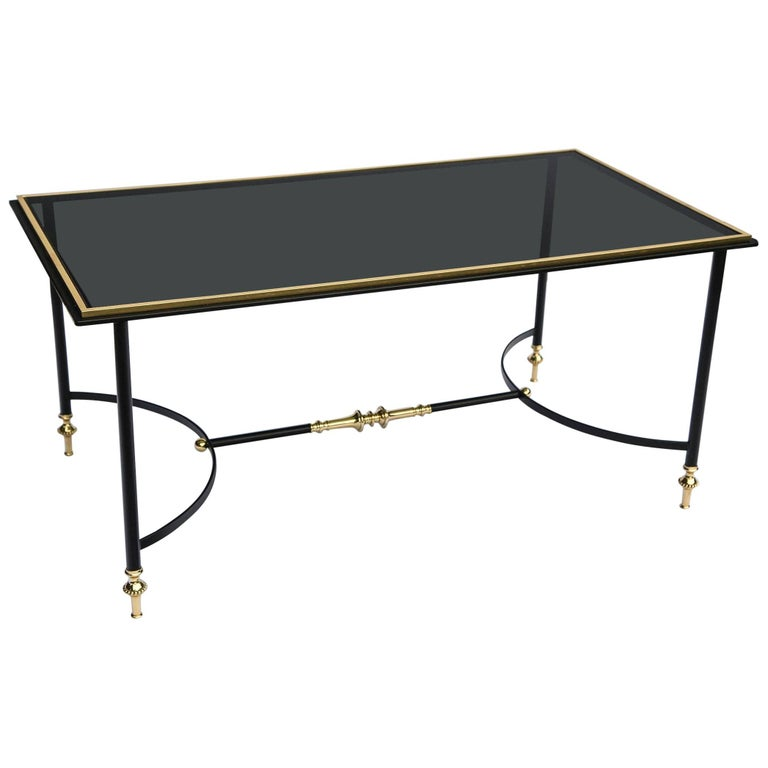 Bronze and Iron Coffee Table with Black Glass Top For Sale