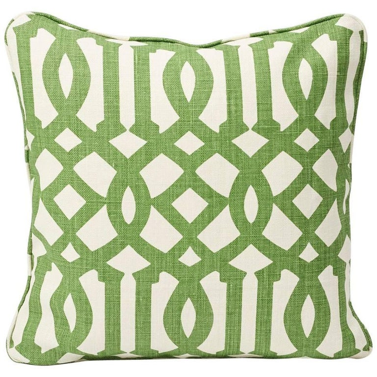 "Schumacher Imperial Trellis Treillage Green Ivory Two-Sided 18"" Linen Pillow For Sale"