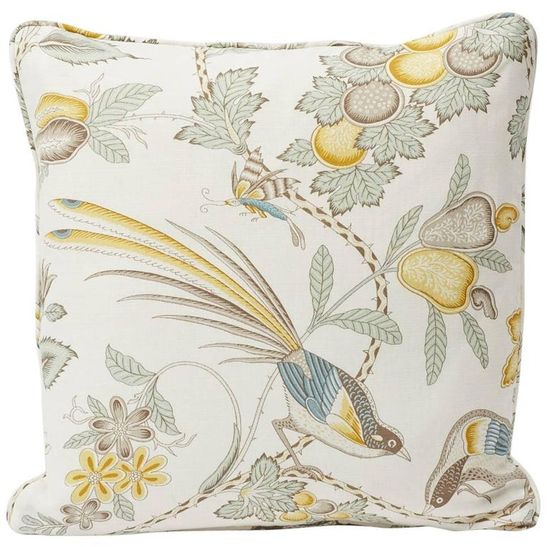 """Schumacher Campagne French Floral Linen Cadet and Citron Yellow 18"""" Pillow For Sale"""