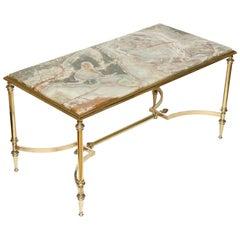 Italian Onyx and Brass Coffee Table
