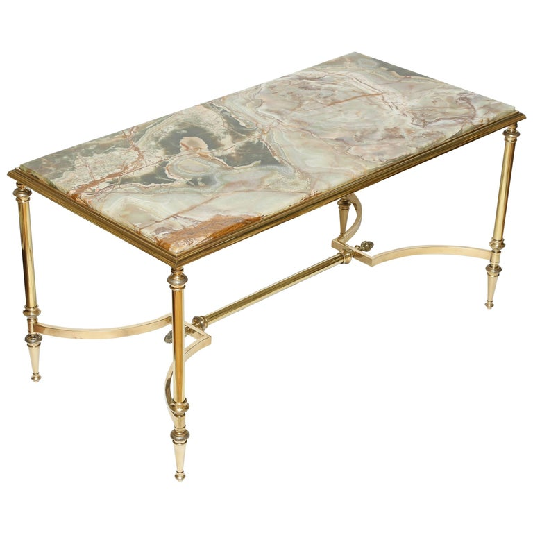 Italian Onyx And Brass Coffee Table For Sale At 1stdibs