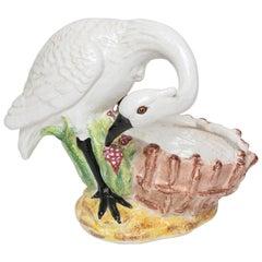 Italian Glazed Terra Cotta Stork Cache Pot