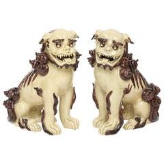 Pair of Glazed Terra Cotta Foo Dogs