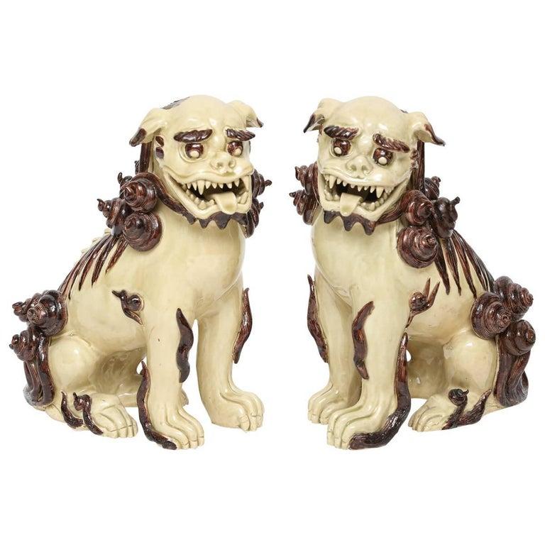 Pair of Glazed Terra Cotta Foo Dogs For Sale