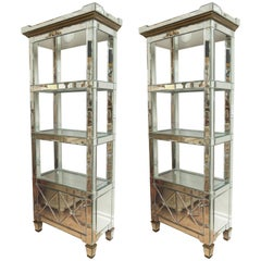 Pair of Vintage Neoclassical Mirrored Étagères