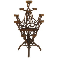 Rustic Continental '19th Century' Natural Twig Form 10 Arm Plant Stand
