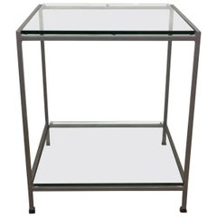Florence Knoll Two-Tiered Chrome and Glass Side Table