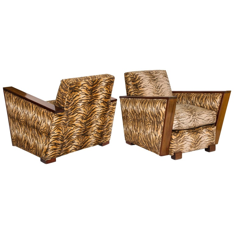 Deco Chic Animal Print Pair of Chairs, France, 1940s