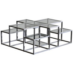 Michel Boyer, Rare Minimal Coffee Table in Stainless Steel and Smoked Glass 1973