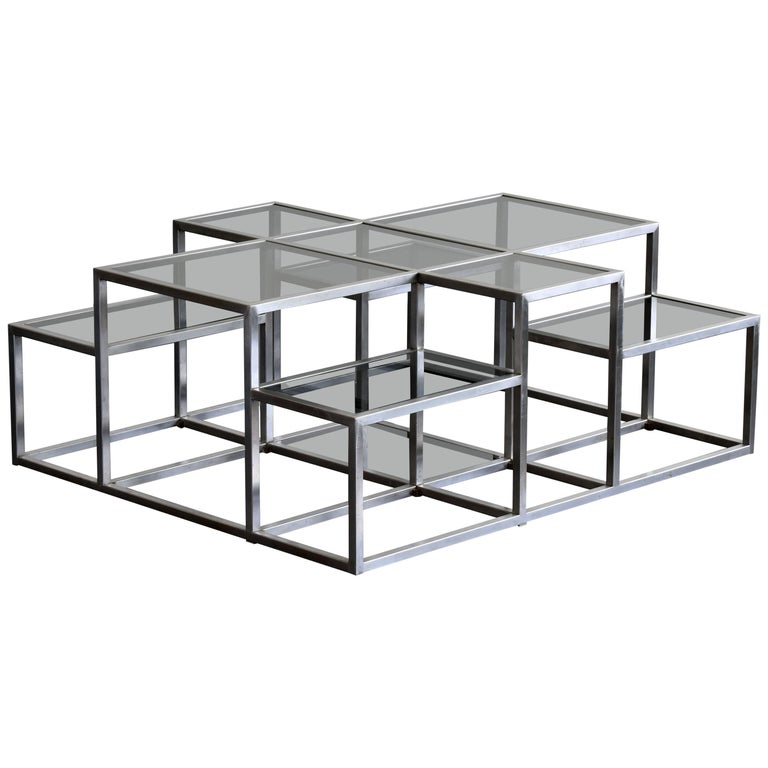 Michel Boyer, Rare Minimal Coffee Table in Stainless Steel and Smoked Glass 1973 For Sale