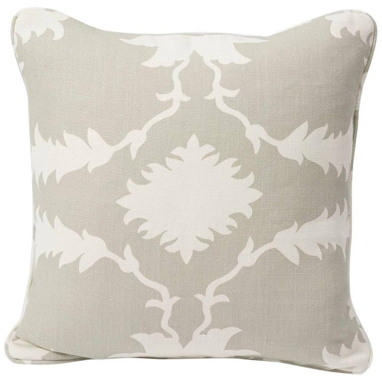 "Schumacher Mary McDonald Garden of Persia Floral Gray Two-Sided 18"" Linen Pillow For Sale"