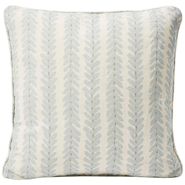 "Schumacher Modern Classic Woodperry Woven Blue Two-Sided 18"" Linen Pillow For Sale"