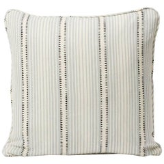 "Schumacher David Oliver Moncorvo Stripe LeMirage Blue Two-Sided 18"" Linen Pillow"