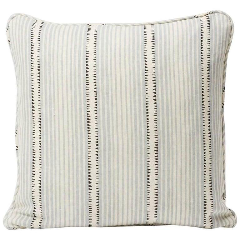 "Schumacher David Oliver Moncorvo Stripe LeMirage Blue Two-Sided 18"" Linen Pillow For Sale"