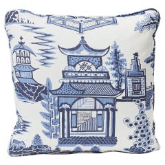 "Schumacher Nanjing Modern Chinoiserie Porcelain Blue Two-Sided 18"" Linen Pillow"
