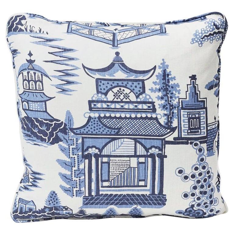 "Schumacher Nanjing Modern Chinoiserie Porcelain Blue Two-Sided 18"" Linen Pillow For Sale"