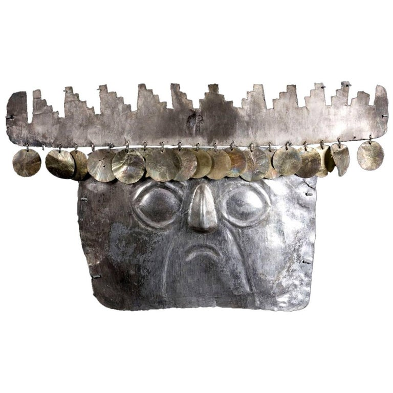 Rare Pre-Columbian Inca Silver Mask with Gold Sequins For Sale