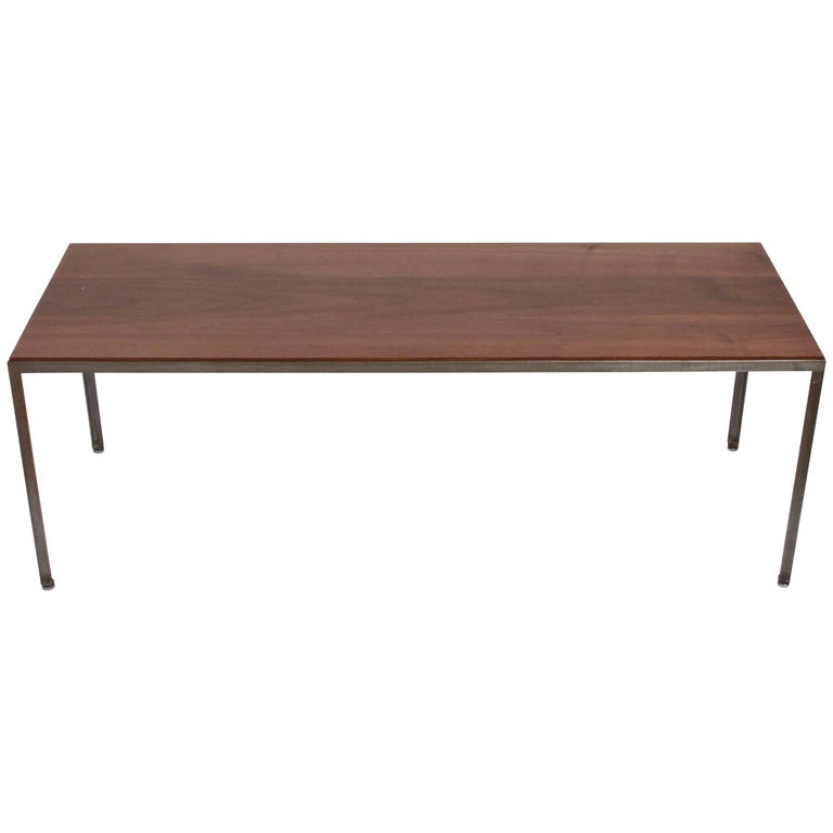 George Nelson for Herman Miller Solid Black Walnut and Iron Coffee Table, 1960s