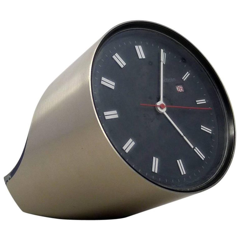 "Silver Table Clock ""Secticon"" by Angelo Mangiarotti for Secticon"