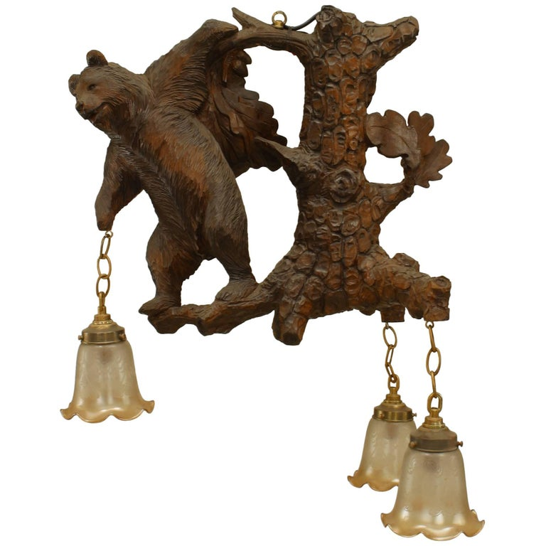 Rustic Black Forest Style Walnut Carved Chandelier