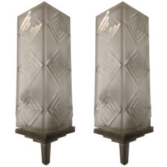 Pair of French Art Deco Sconces Signed by Simonet Freres