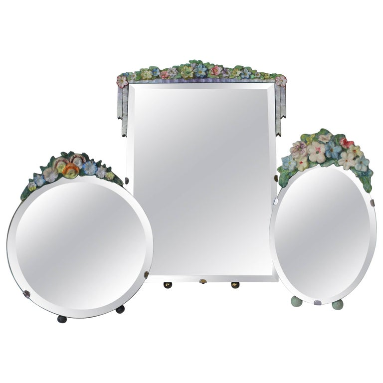 Collection of Three English Pastel Vintage Barbola Mirrors For Sale