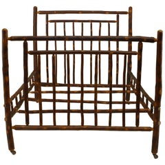 1930s Rustic Old Hickory Bed with Spindle Design