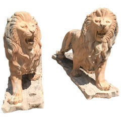 Pair of Classical Hand-Carved Solid Marble Lions, Life-Size