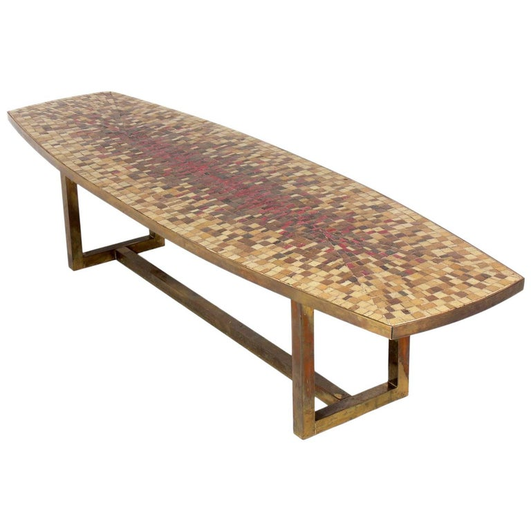 Midcentury Italian Glass Mosaic Tile and Brass Coffee Table