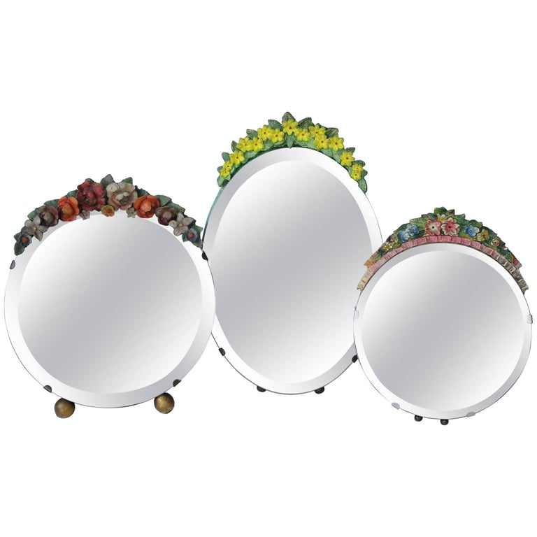 Collection of Vintage English Barbola Mirrors For Sale