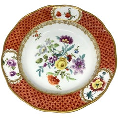 Meissen Gilded Iron Red Floral Plate